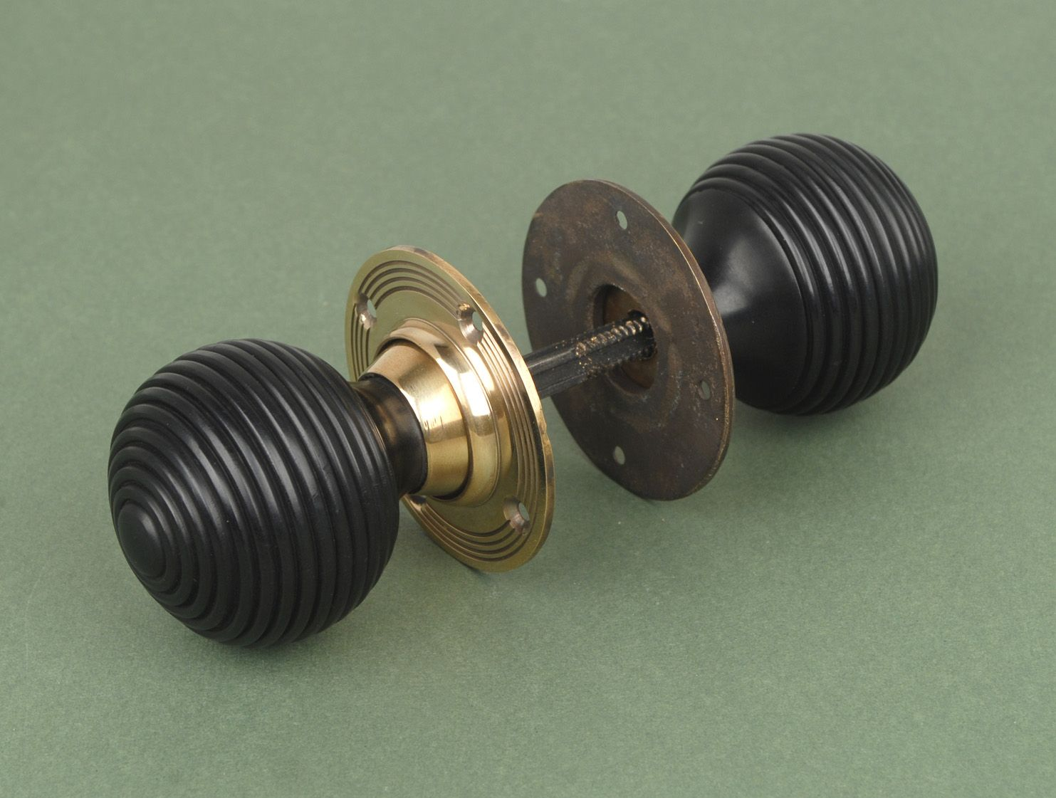 UKAA Buy And Sell Solid Ebony Door Furniture, Beehive Knobs With Aged Brass  Roseplate, Antique Door Furniture And Ebony Door Knobs Online And For Sale  In ...