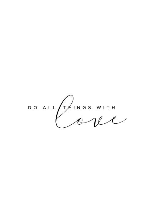 Do all things with love inspirational quote wall decor for Art minimaliste citation