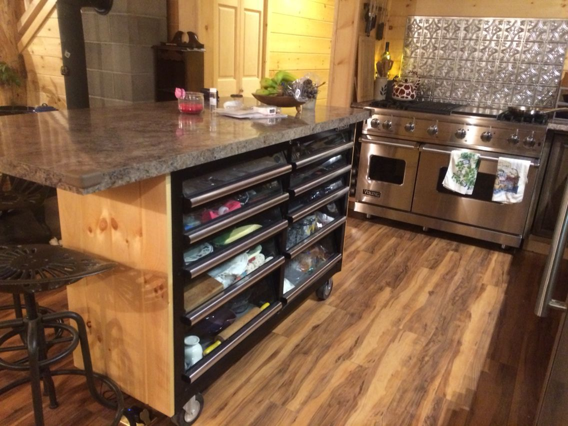 Lowes Toolbox converted into a kitchen island