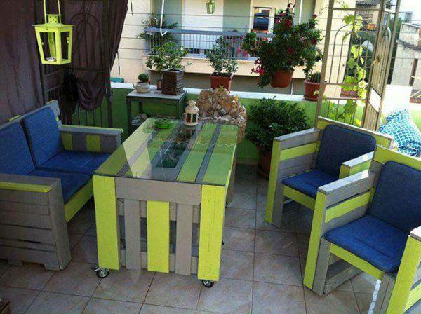 Möbel Grüne Streifen Paletten Gartenmöbel Europaletten Tisch Stühle