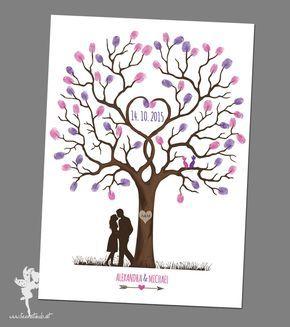hochzeitsbaum wedding tree leinwand papier fingerabdr cke g stebuch und hochzeitsbaum. Black Bedroom Furniture Sets. Home Design Ideas