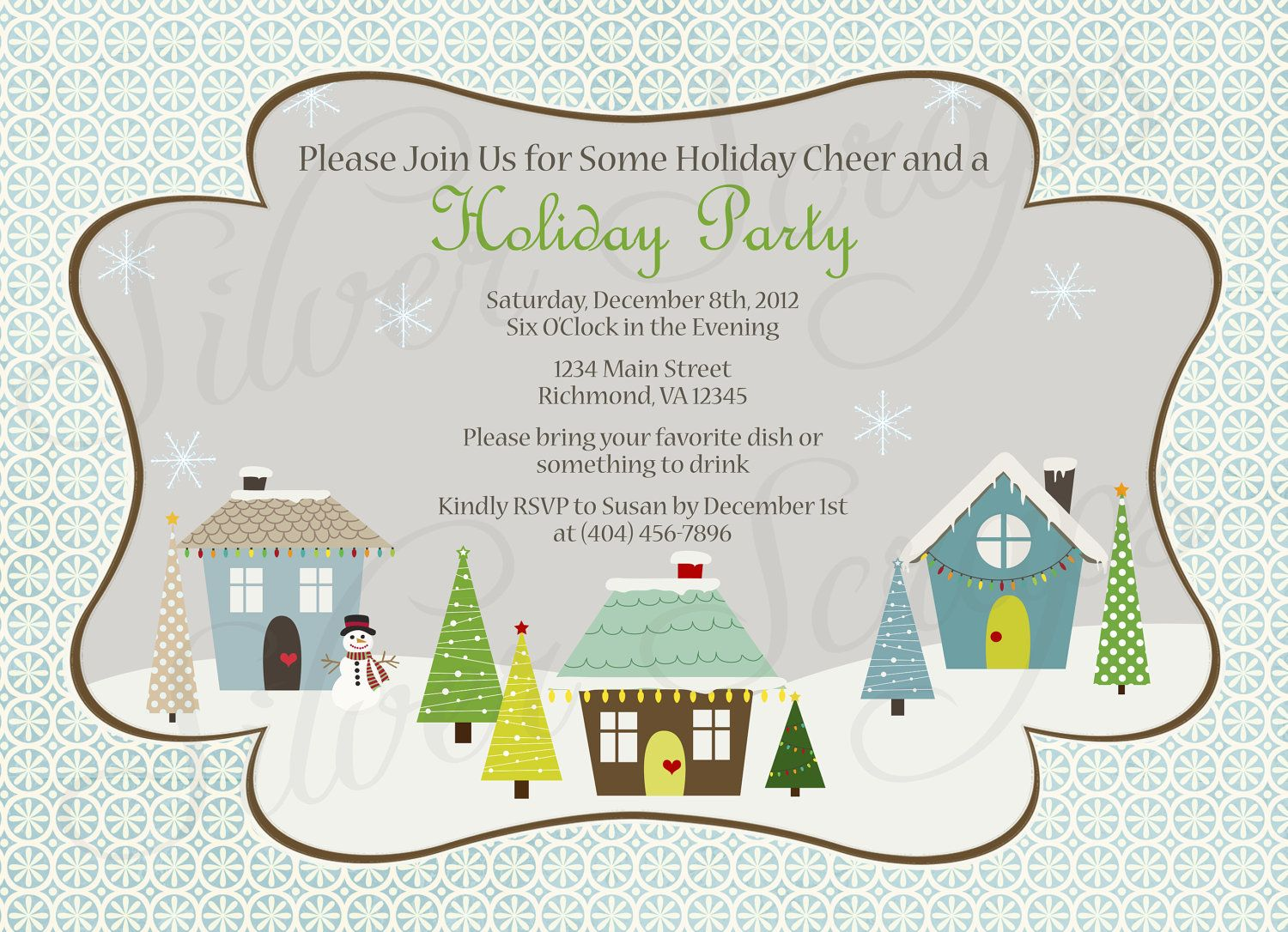 Holiday Houses Landscape Custom Christmas Party Invitation ...