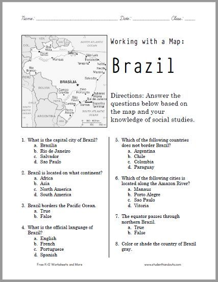 this free printable map worksheet of brazil works wonderfully for grades 4 12