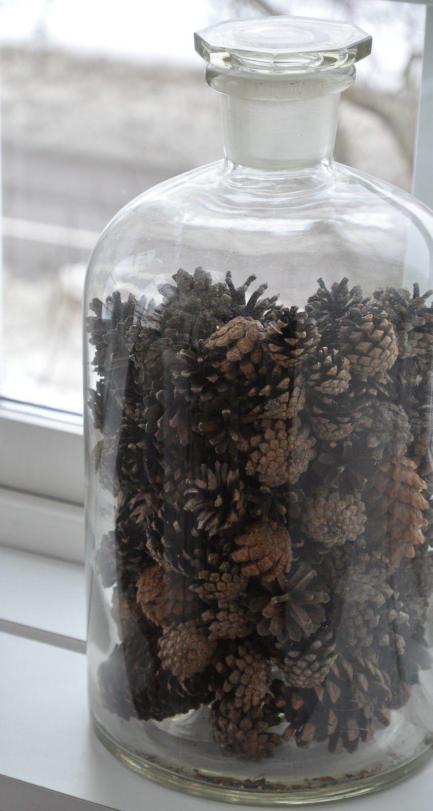 Pinecones bijzondere herfst pinterest fles herfst for Decoratie fles