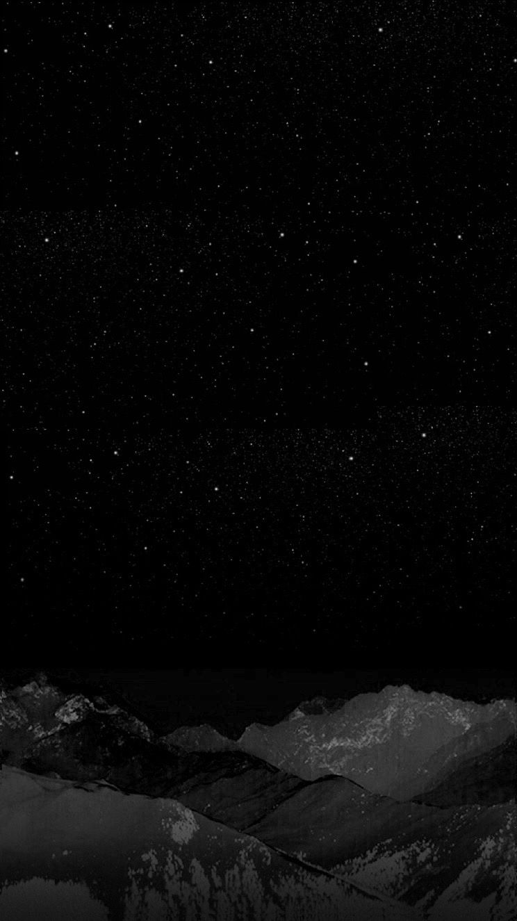 Black, night, stars, Winter mountain, wallpaper, iPhone