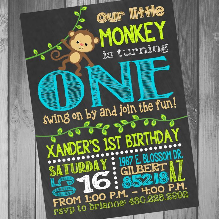 Monkey Birthday Invitation Monkey 1st Birthday Monkey