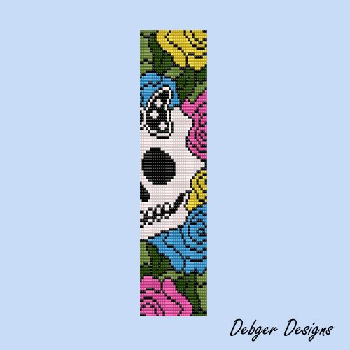Free Beading Patterns Day Of The Dead 2 Loom Bracelet Cuff By Debger Designs