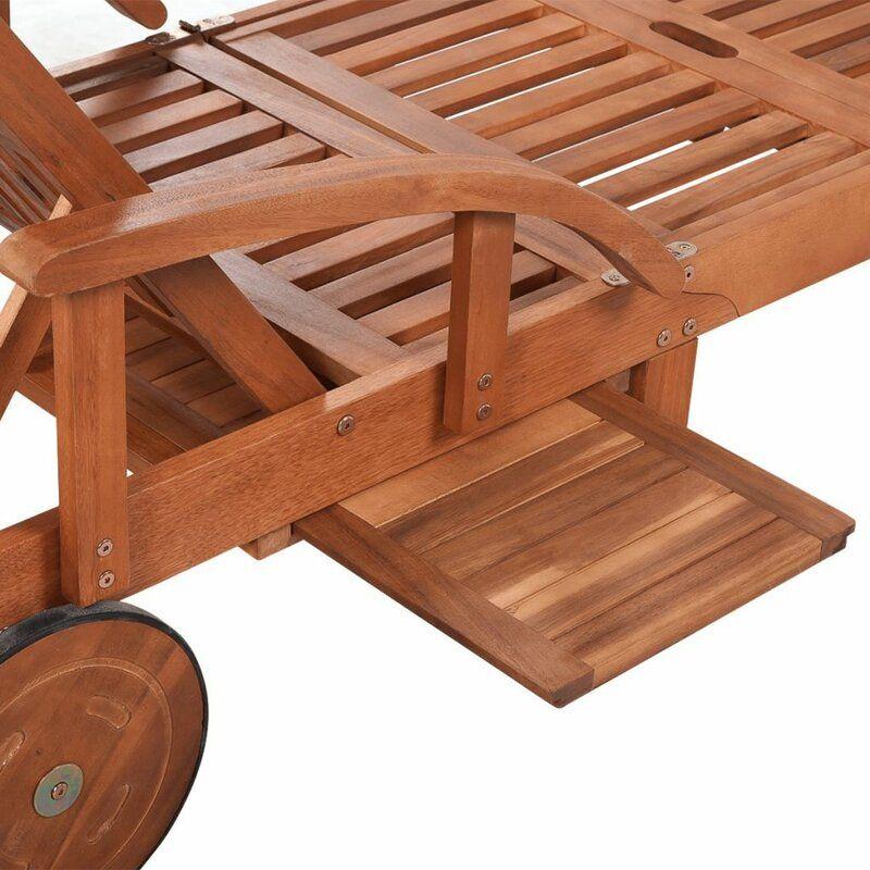 Verstellbare Gartenliege Mit Auflage Und Tisch Sonnenliege Holzliege Gartenliege