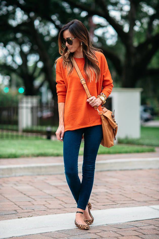 Bright Orange Sweater Navy Denim Skinnies Leopard Ankle Strap Flats  # #Sequins