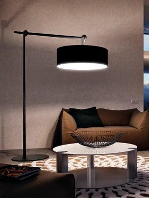 Jump floor lamp made with carbon fiber.