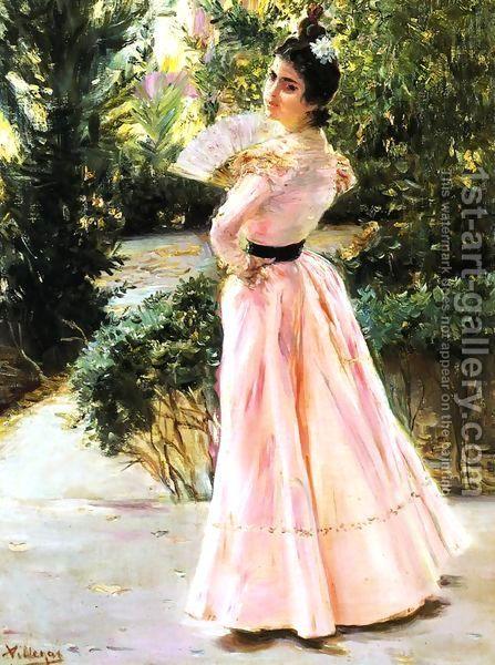 The Pink Fan by Jose Villegas y Cordero