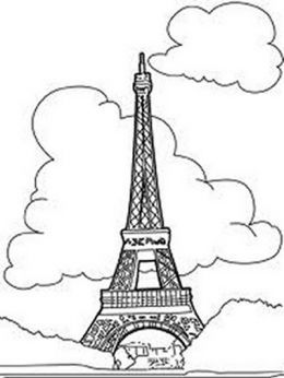 national landmark coloring pages historic tourist attractions eifel tower paris france - France Eiffel Tower Coloring Page
