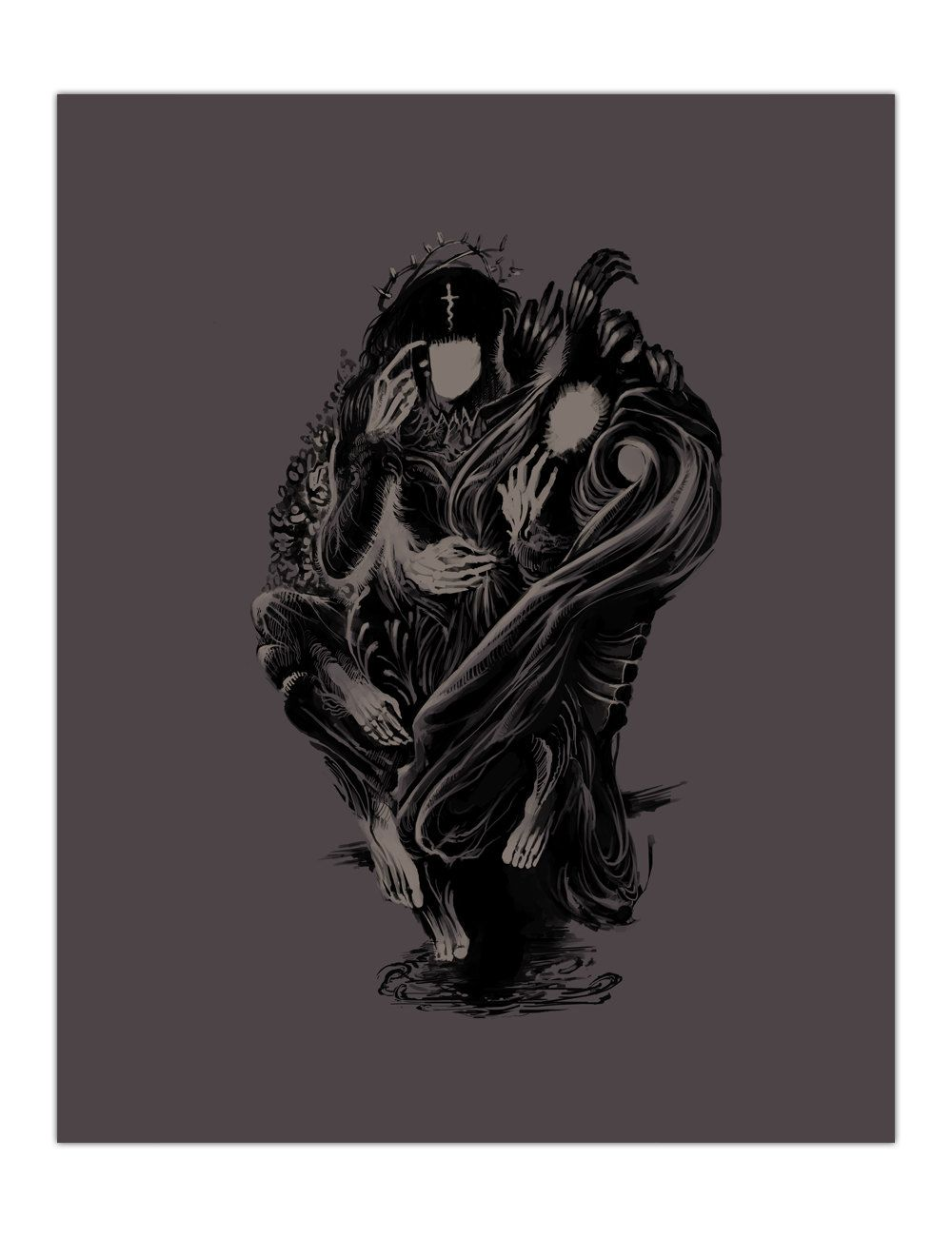 Companion surreal art print in coffee color at 8x10 by deadsolace