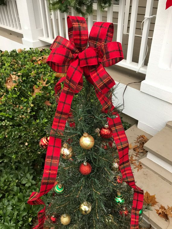 Small Christmas Tree Topper Bow With Long Tails Flannel Christmas Tree Topper Bow Tree Topper Bow Small Christmas Trees