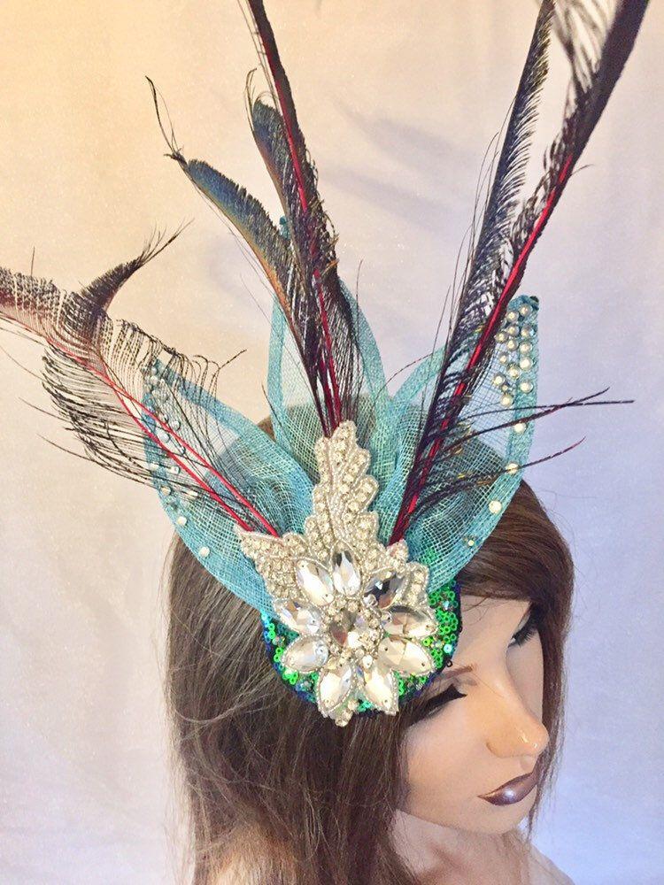 rhinestone feather fascinator,green fascinator,turquoise headpiece,feather fascinator,feather headpiece,flapper headpiece,leaf headpiece