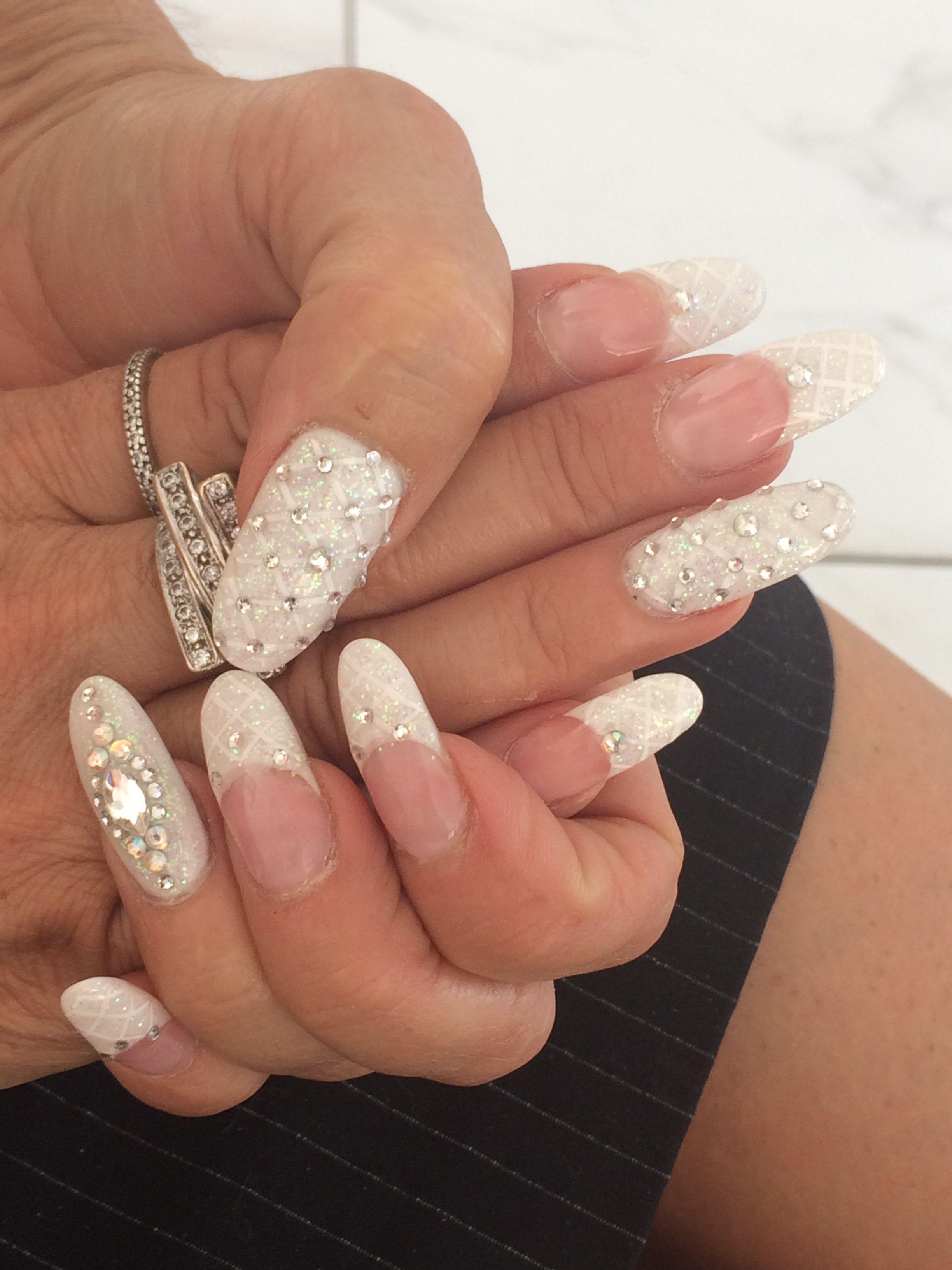 Acrylic nail design, oval nails, nail design, french design | Nail ...