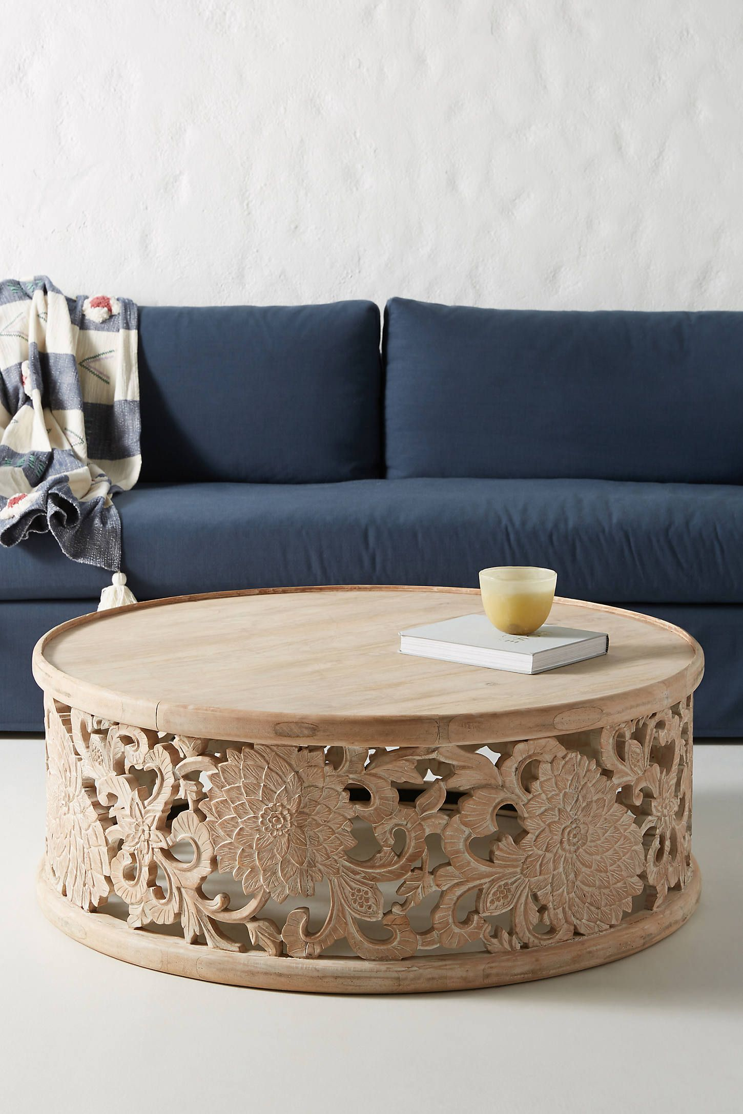 Best Handcarved Lotus Coffee Table By Anthropologie In Beige 400 x 300