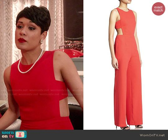 Anika's red jumpsuit on Empire. Outfit Details: http://wornontv ...