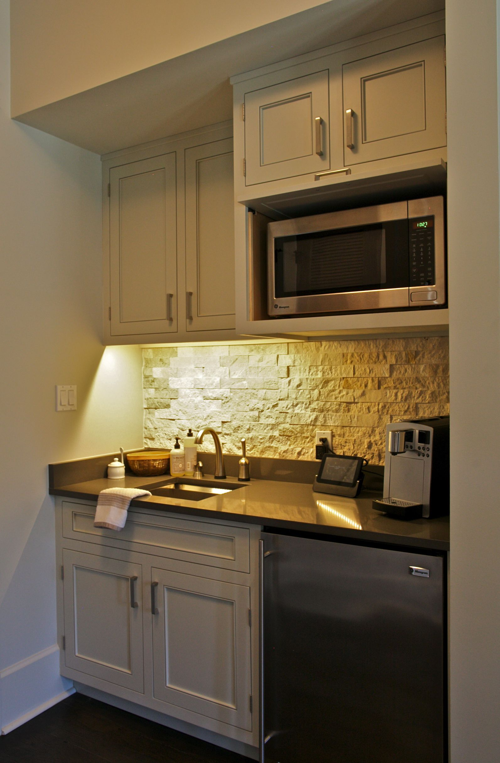 This coffee barkitchenette sits in a Master Bedroom for early