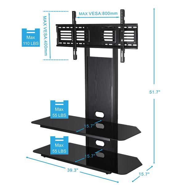 Fitueyes Height Adjustable Universal Tv Stand Base Swivel Tabletop