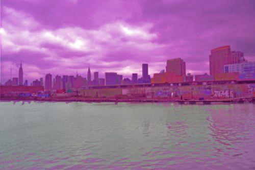 neon city. #nyc #water #neonphotography     - credit: lara designor -