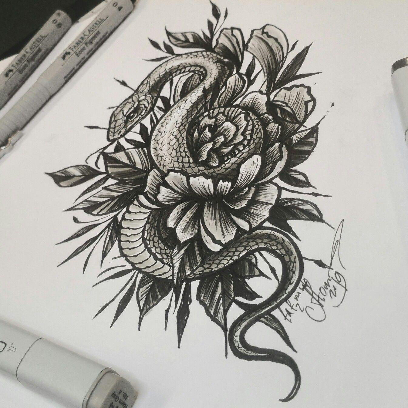 тату эскиз змея и цветок гвоздики нарисован лайнерами Faber
