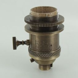 Antique Brass Finish Long Uno Threaded 3 Way Lamp Socket Includes