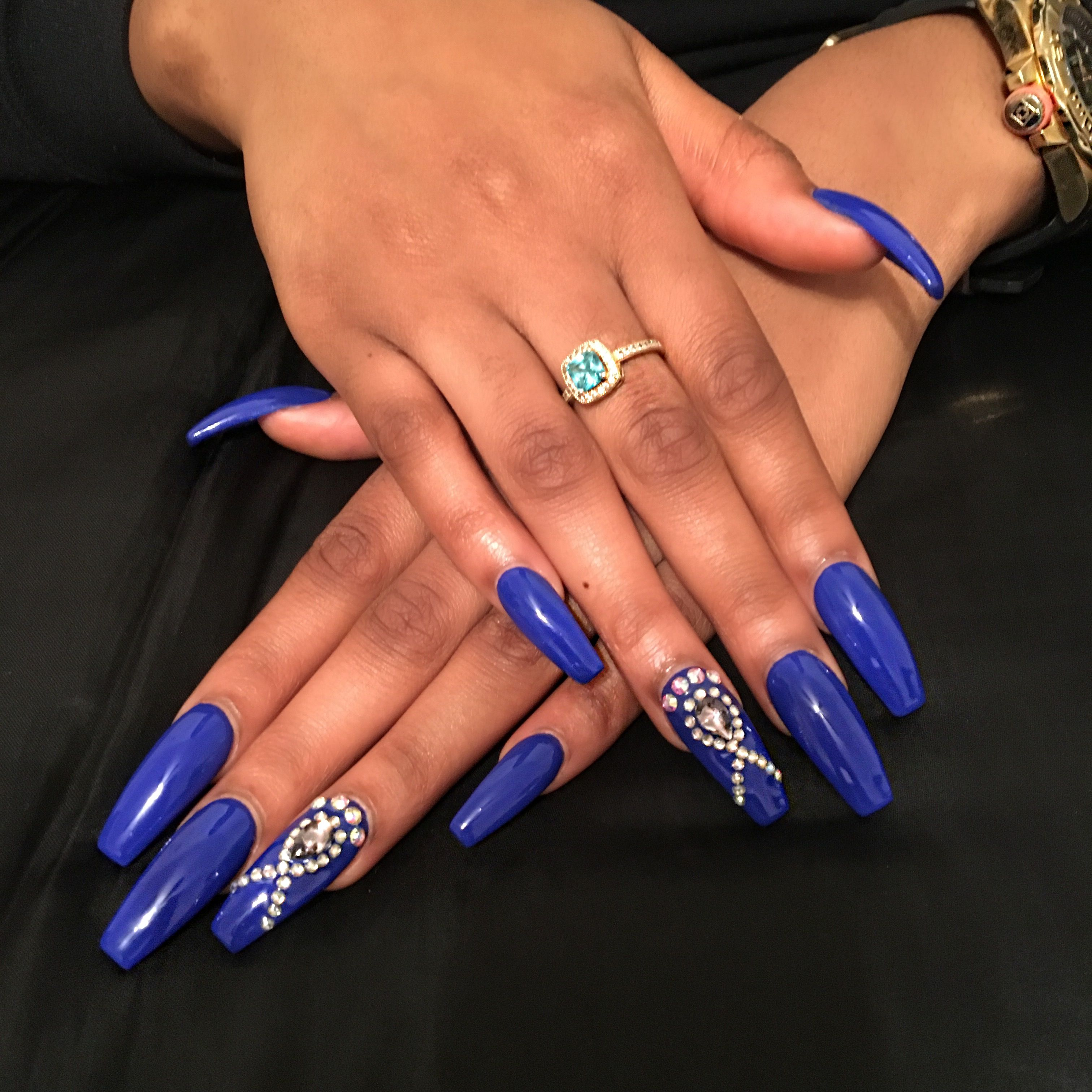 Royal Blue Coffin Nails With Rhinestones Rhinestone Nails Royal Blue Nails Nails Design With Rhinestones