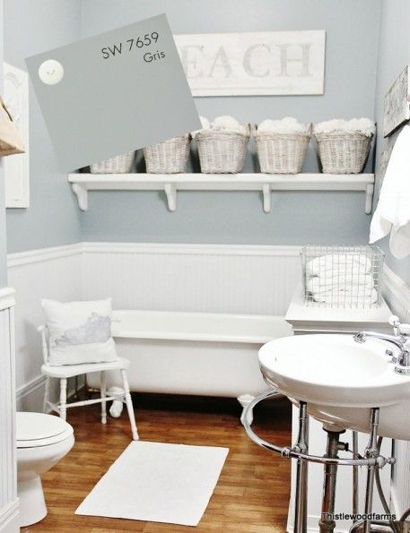Sherwin Williams Gris Classic Gray Bathroom Paint Color With