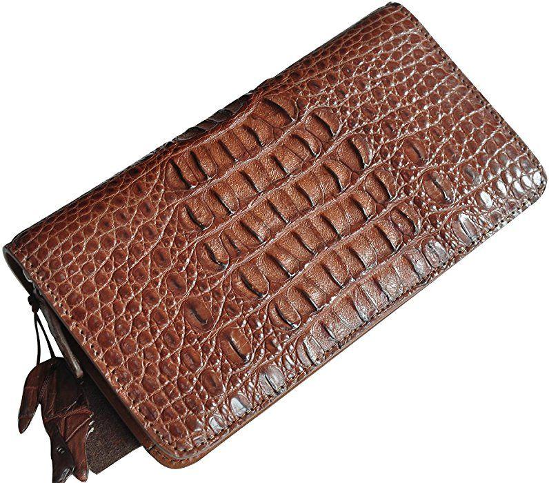 Crocodile Skin Leather Long Wallet Mens purses