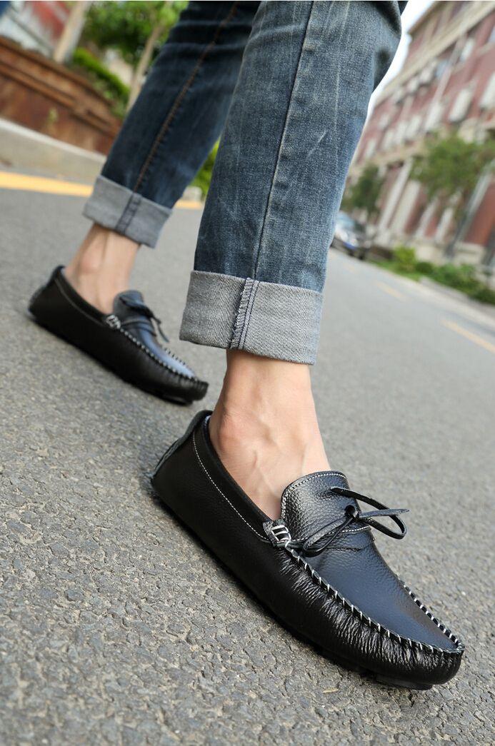 Men's #black leather slip on #loafer