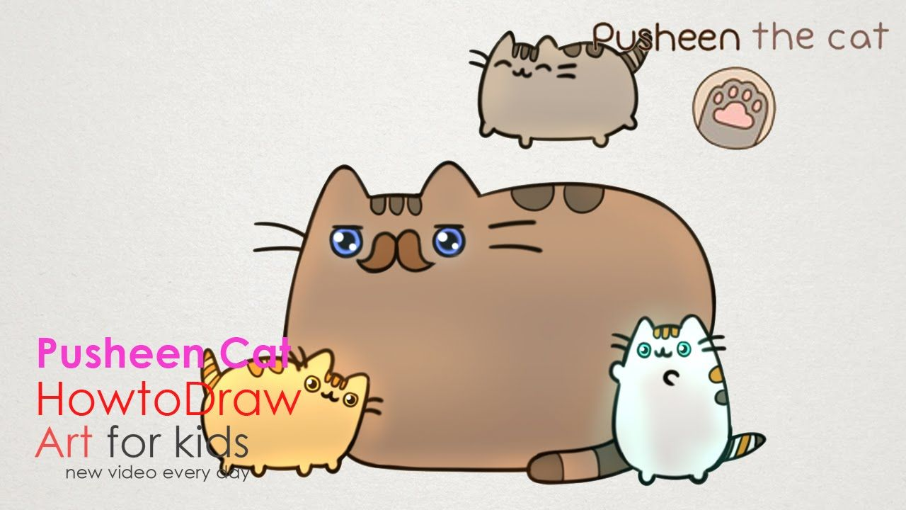 how to draw pusheen cat father s day step by step drawing for kids