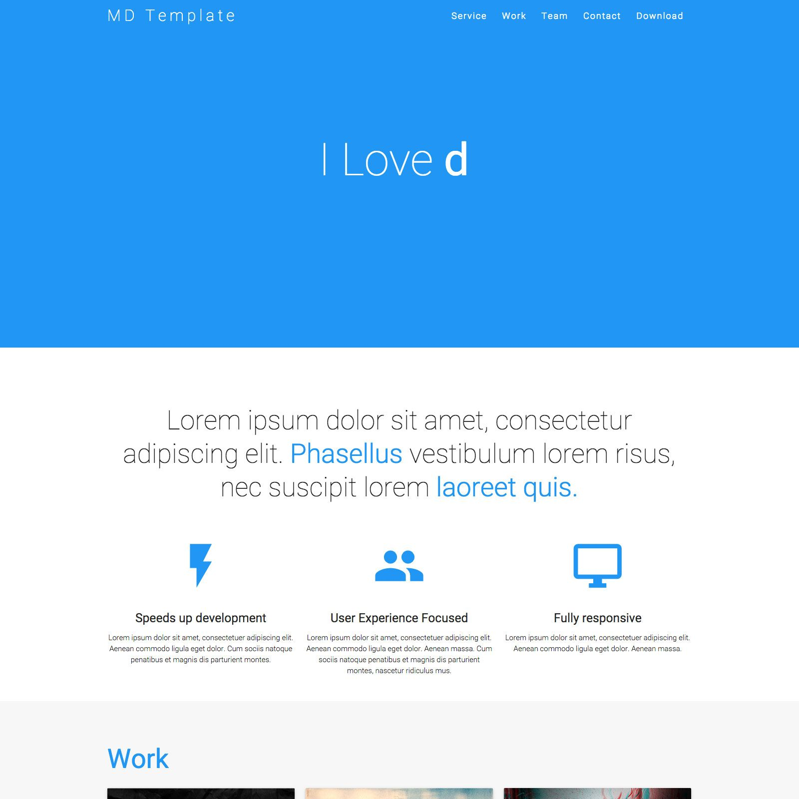 One Page Material Design Template