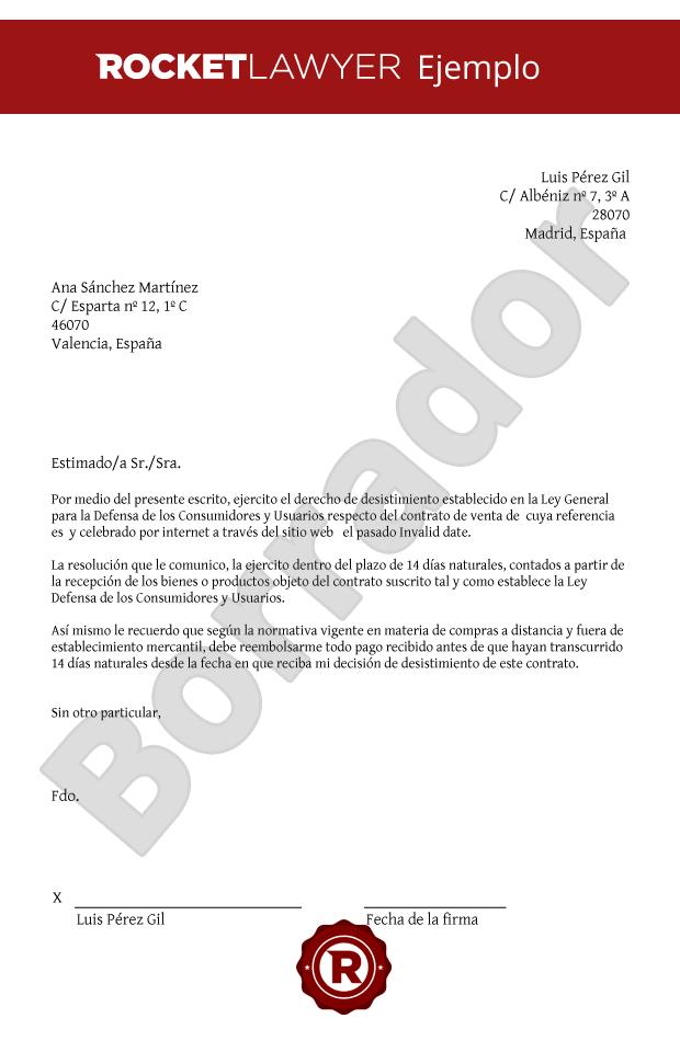 Carta De Desistimiento Compraventa Consumidor