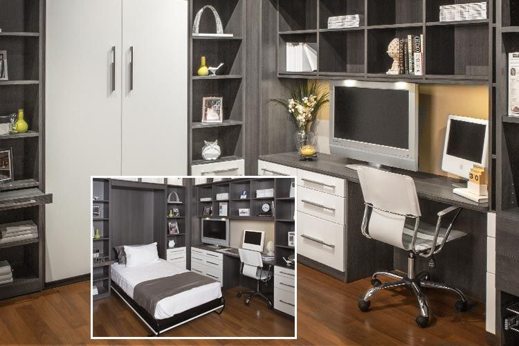 Closet Works Combination Home Office Wall Bed And Guest Room Systems Remodel Bedroom Murphy Bed Office Guest Room Office