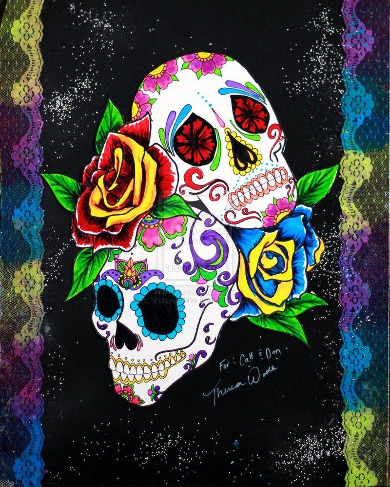 Sugar skull art wallpaper sugar skulls by violetmarbles sugar skull wallpaper sugar skull - Sugar skull background ...