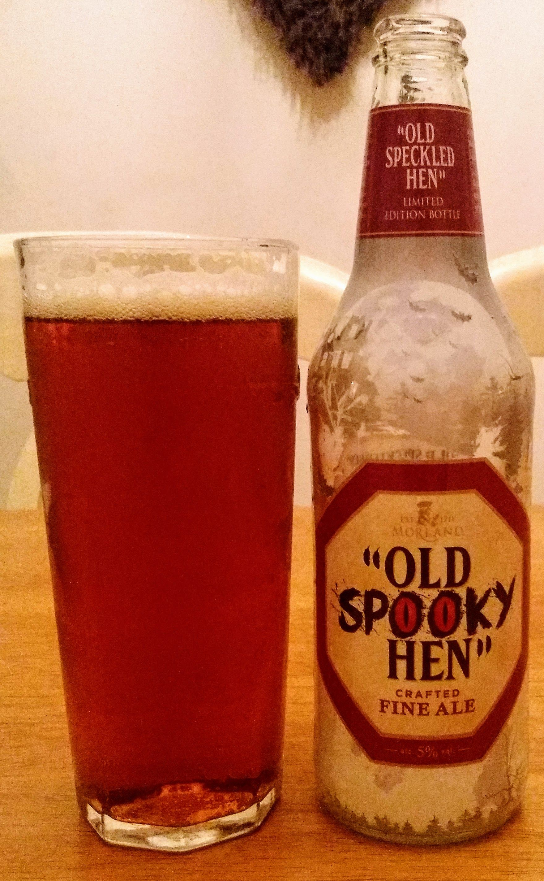 Old Speckled Hen From Morland Brewing In Halloween Labeling Drinkable But Unremarkable Amber Ale 7 10 British Beer Ale Beer