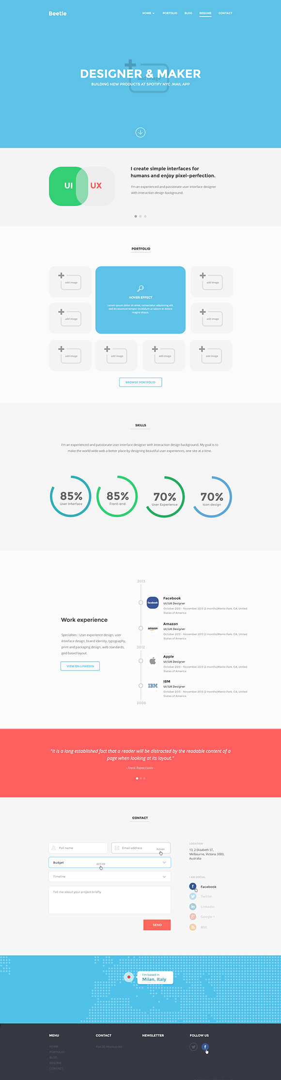 Beetle is a responsive HTML5 template for landing pages, blog and resume. Designed by Frank Rapacciuolo.