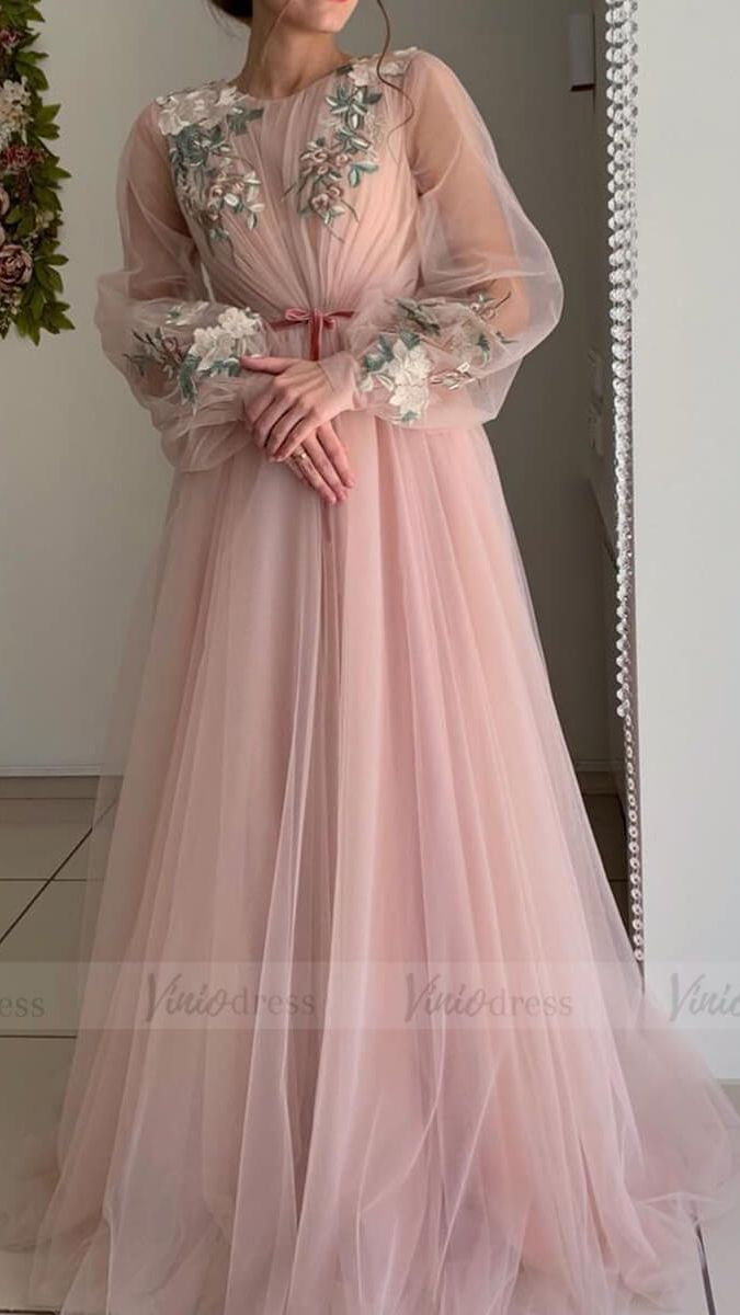 Long Sleeve Dusty Rose Prom Dresses Embroidered Engagement Party Dress FD1654 #dressesforengagementparty