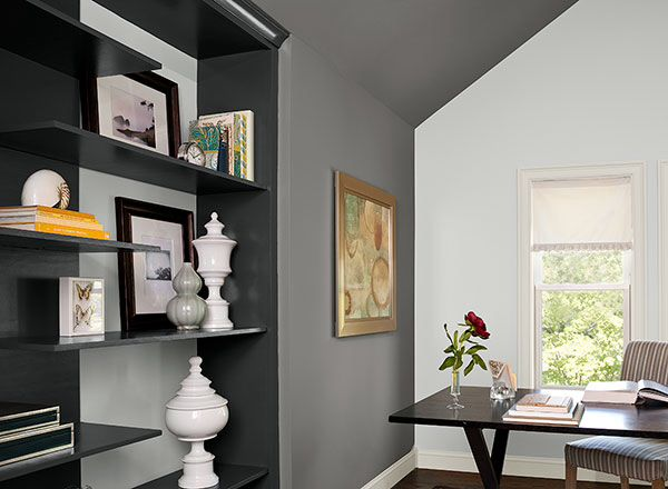 office colour schemes teal benjamin moore wall paint cinder pure white and cinder combo
