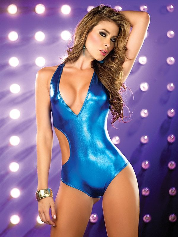 d6b10a36a1 Metallic Blue Cut Out Strap Bodysuit : Cute Sexy Rave One Pieces and  Costumes