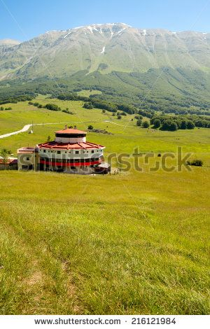 Old hut in the Natural Reserve of Majella, Abruzzi, Italy. - stock photo