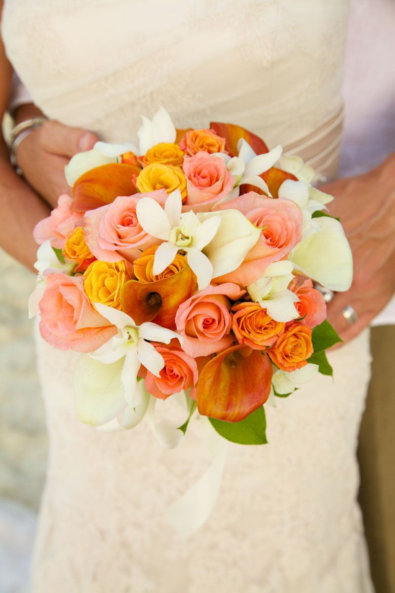 Couple And Bouquet With Mango Calla Lilies Orange Roses Light Pink White