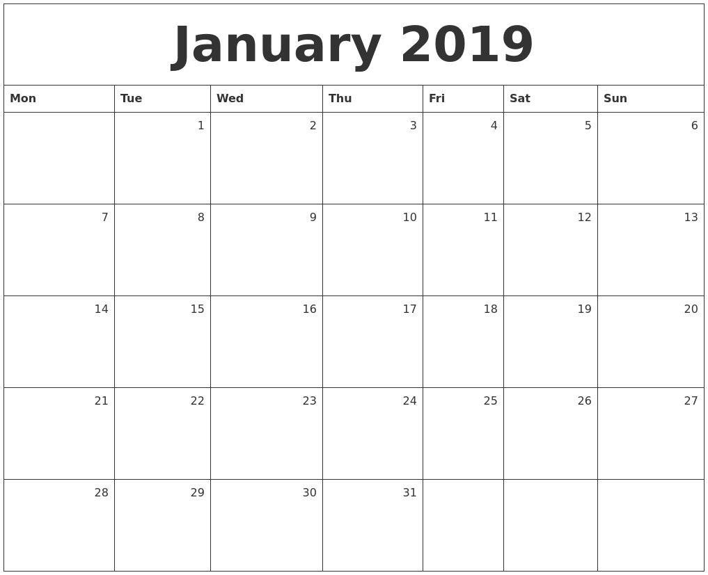 January 2019 Monthly Calendar Monthly Calendar Calendar