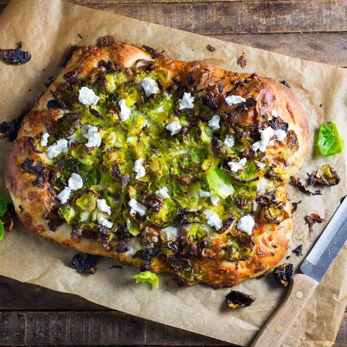 Brussels Sprout Pizza with Balsamic Caramelized Onions and Goat Cheese