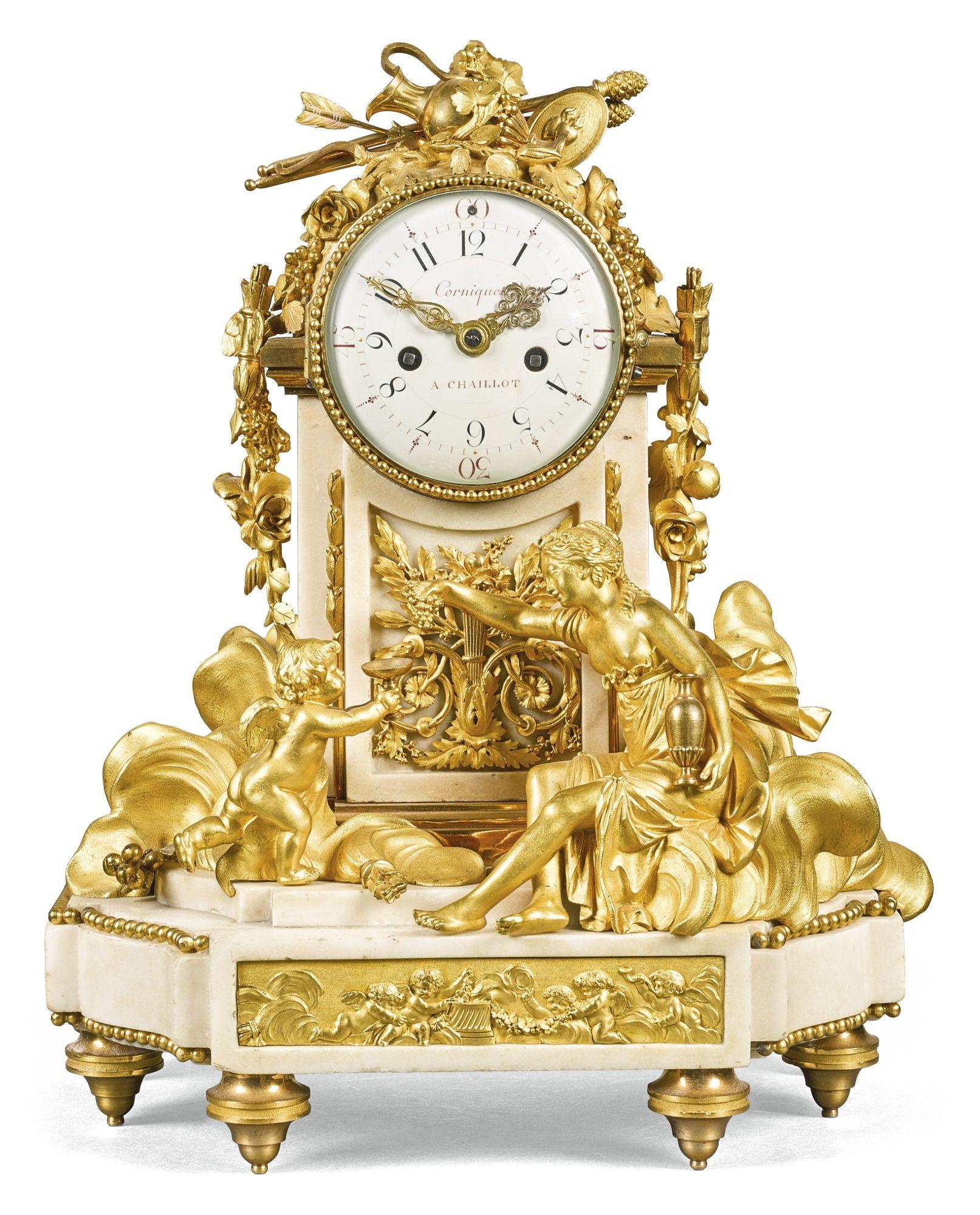 Louis Xvi Gilt Bronze And White Marble Mantel Clock Philippe Jacques Corniquet Paris Circa 1790 Antique Wall Clocks Antique Clocks Mantel Clock