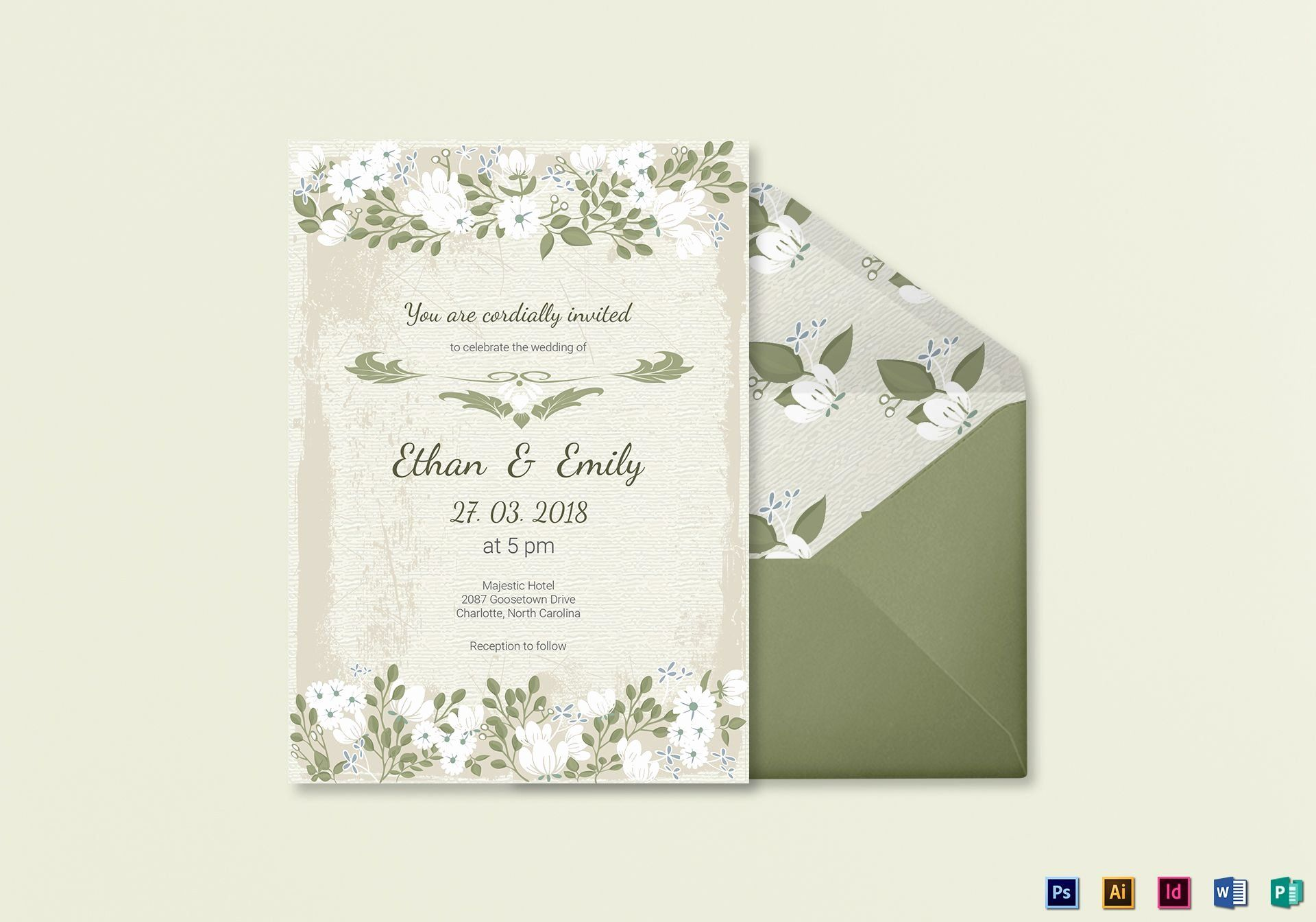 Wedding Invitation Card Template Awesome Vintage Wedding In