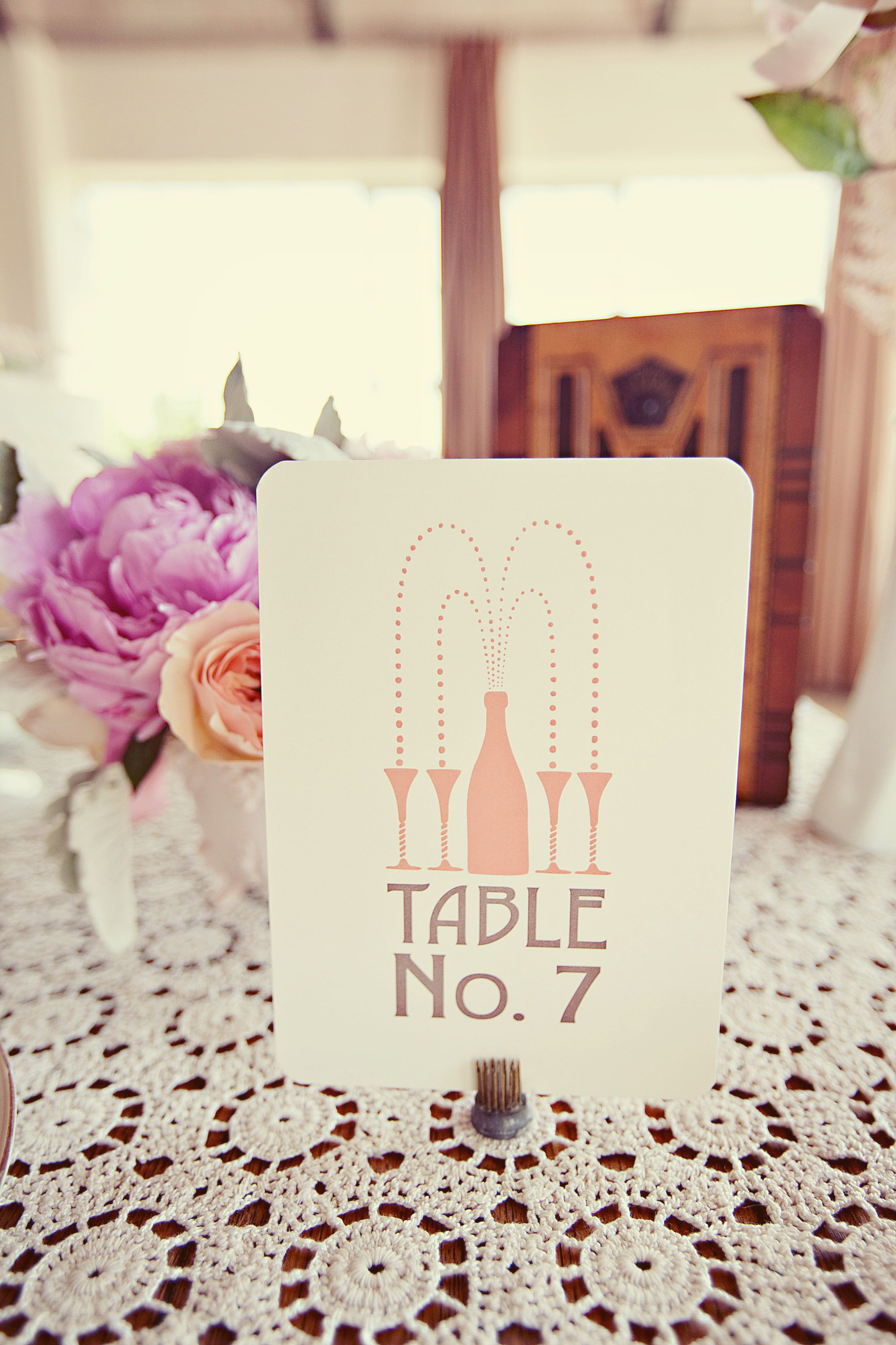 The Great Gatsby Wedding Table Scape Decor Champange Table Number ...