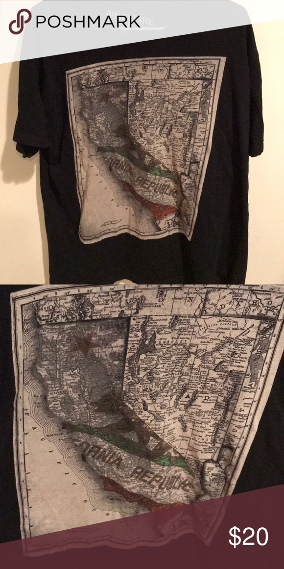 Ring of fire Black short sleeved shirt with map
