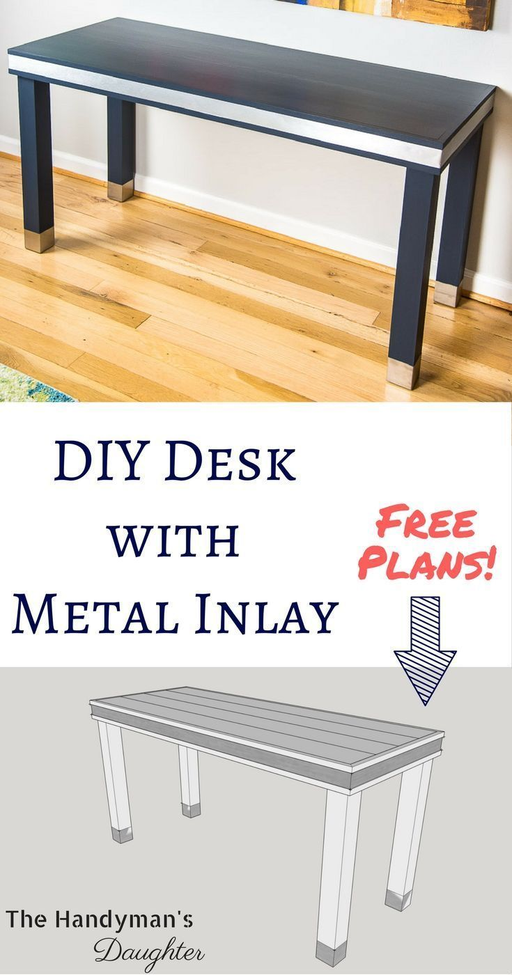 Make this wood and metal desk for your home office this simple desk